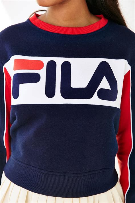 color sweat lyst fila uo colorblock sweatshirt in blue