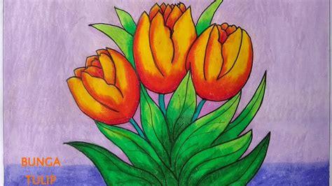 contoh gambar cara mewarnai bunga tulip