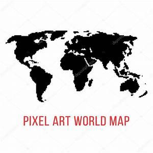 Carte Du Monde Noir : carte du monde noir en pixel art image vectorielle ~ Teatrodelosmanantiales.com Idées de Décoration