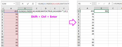 How To Sum Column Values Until Next Blank Cell In Excel?