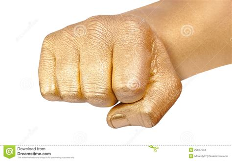 Gold Fingers Clenched In A Fist Stock Images Image 20627644