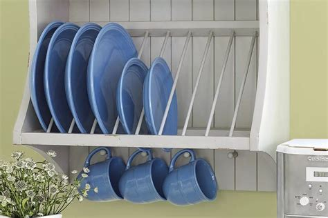 build  plate rack   kitchen cabinet cream wooden shabby chic farmhouse plate