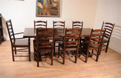 oak kitchen dining set ladderback chairs refectory table