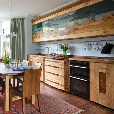 Уникальный дизайн кухни из дерева Стекло и вяз