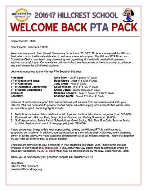 Pta Welcome Letters Poemsromco