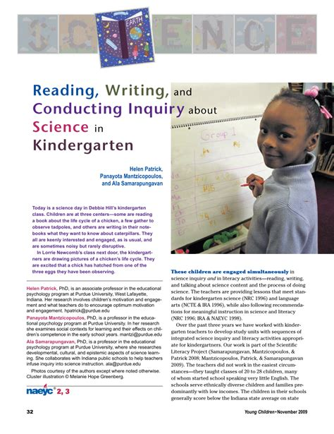 (pdf) Reading, Writing, And Conducting Inquiry About Science In Kindergarten