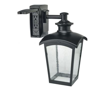 wall lantern with built in electrical outlet gfci l
