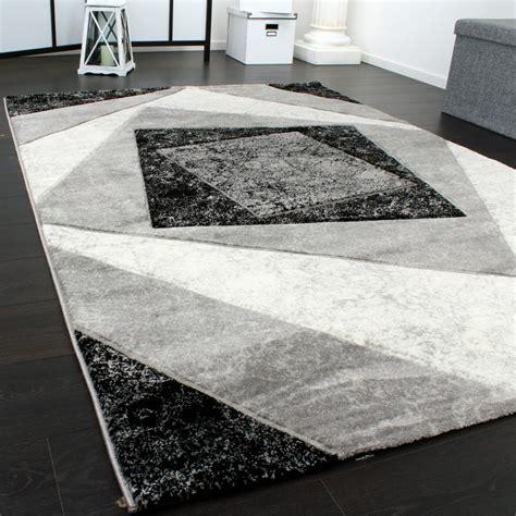 tapis chic noble moderne 224 contour carreaux gris noir