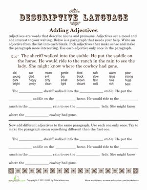 adding adjectives worksheet education com