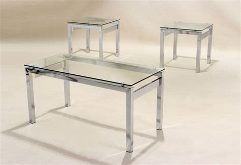 Clear glass coffee table 2 matching side table, lamp table