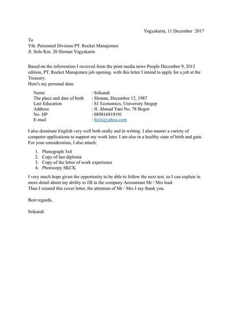 Contoh Nulis Di Lop Lamaran Kerja by Contoh Surat Lamaran Kerja Bahasa Inggris Yang