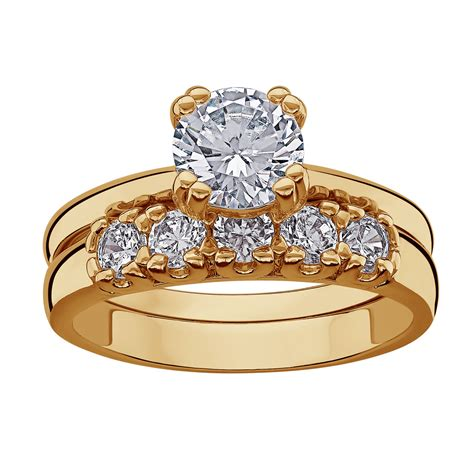 14k gold plated cz 2 piece wedding ring 16576 limoges jewelry