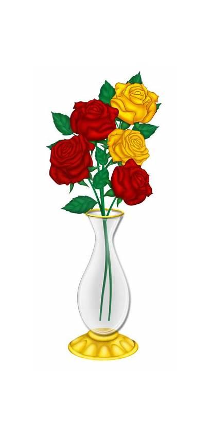 Vase Roses Yellow Clip Flowers Clipart Flower