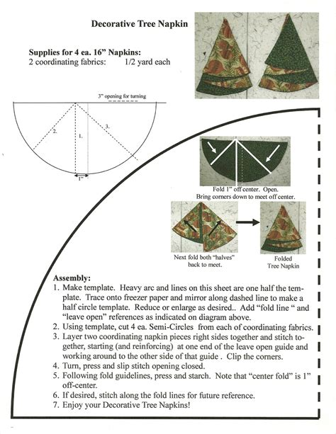christmas tree napkins fold pattern quilter s christmas tree napkins 7263