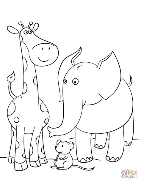 giraffe mouse  elephant coloring page  printable