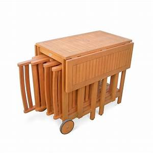 Table Jardin En Bois : salon de jardin en bois pliable merida table rectangle pliable 100x82cm avec 4 chaises pliantes ~ Dode.kayakingforconservation.com Idées de Décoration