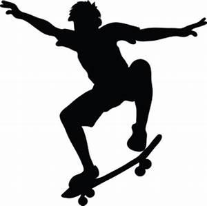 Skateboard Clipart Image - Skateboarder riding a ...