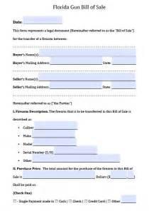 Sle Bill Of Sale Florida by Free Florida Firearm Bill Of Sale Form Pdf Word Doc