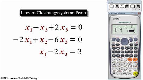 lineare gleichungssysteme loesen mit taschenrechner youtube