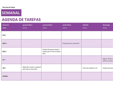 templates excel planeamento de tarefas lista de tarefas semanal