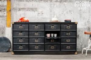 Meuble Industriel Vintage : meuble industriel clapets noir ~ Teatrodelosmanantiales.com Idées de Décoration