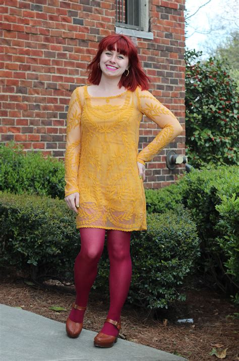 Outfit Yellow Embroidered Shift Dress Pink Tights and Clogs