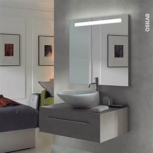 Miroir Salle De Bain Lumineux : miroir de salle de bains lumineux kio l80 x h70 cm oskab ~ Melissatoandfro.com Idées de Décoration