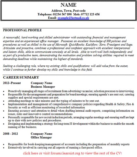 Office Manager Cv Exle by Post Reply