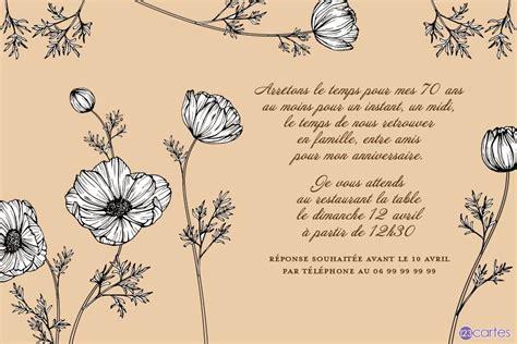 les fleurs cosmos carte invitation anniversaire  ans
