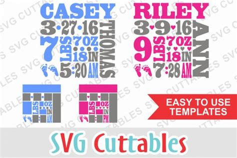 If you feel like sharing the news first to a small circle of family and close friends, you can send paper announcements with a newborn announcement template. Baby Birth Announcement Template By Svg Cuttables   Birth ...