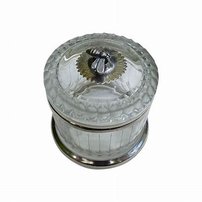 Honey Crystal Silver Sterling Etched Cut Jar
