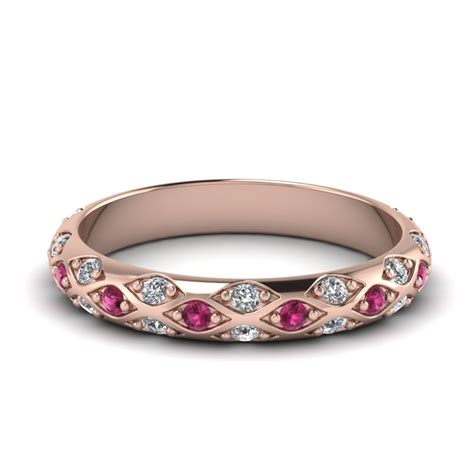 Pave Cross Diamond Wedding Band With Pink Sapphire In 14k