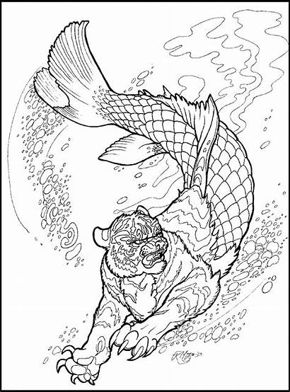 Coloring Manticore Deviantart Pages Adult Lineart Animal