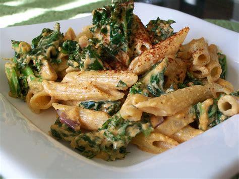 vegan spicy creamy kale pasta keeprecipes