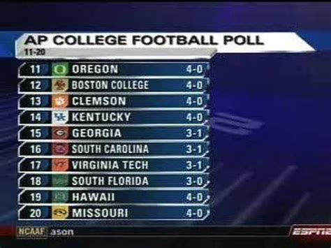 ap college football top  poll week   youtube