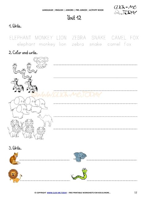 printable beginner esl pre junior worksheet  animals