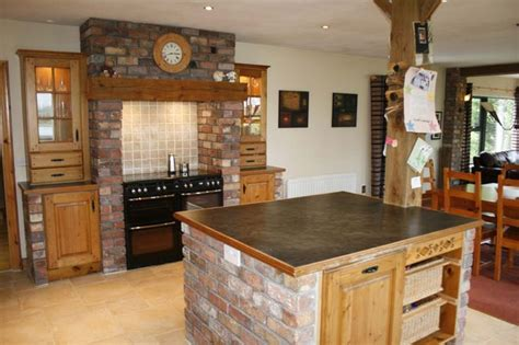kitchen island brick brick island and range surround plough barn kitchen 1849