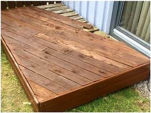 Wooden Deck with Pallet Sofa and Coffee Table - 101 Pallet