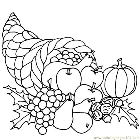thanksgivingcornucopia coloring page  breakfast coloring pages coloringpagescom
