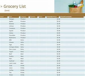Project Templates Word Grocery Inventory List Grocery Inventory List Template