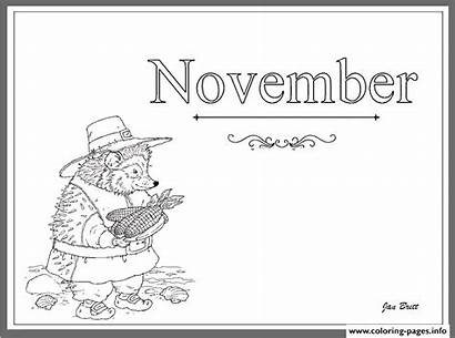 Coloring November Months Pages Printable Calendar Getcoloringpages