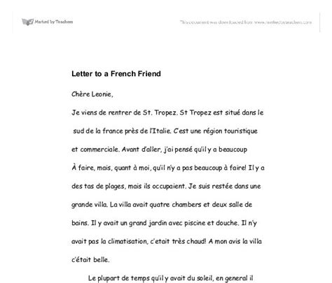 sample french letter   friend
