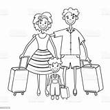 Outline Vacation Coloring Silhouette Drawing Goes Travel Holiday Child Linear Mother Suitcase Isolated Trip Adult Father Russia Banner sketch template