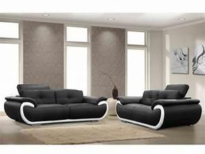 Canapé Cuir Fauteuil : canap et fauteuil en cuir 4 coloris bicolores smiley ~ Premium-room.com Idées de Décoration