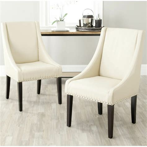 arm chair nailhead leather high  dining room chairs
