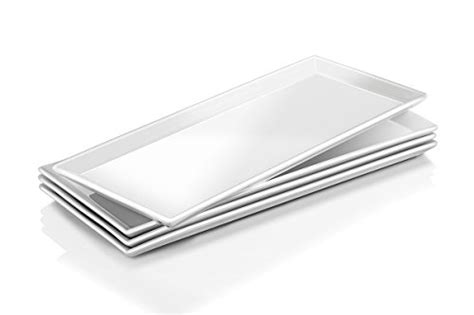 food serving tray set  tier metal display stand   white rectangular stoneware platters
