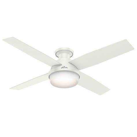 dempsey 52 in low profile led indoor fresh white ceiling fan with universal remote 59242