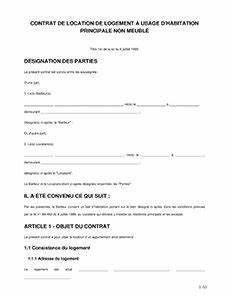 contrat de location vide modele bail non meublee a imprimer With contrat de bail location non meublee