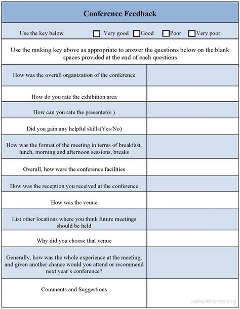 Conference Survey Template by Conference Feedback Form Sle Forms