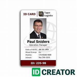 professional employee id card from idcreator With teacher id card template